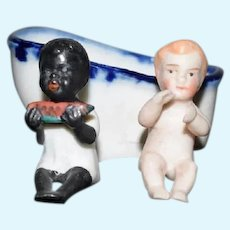 Antique Two Miniature All Bisque Dolls in Bath Tub Black Doll White Doll Dollhouse