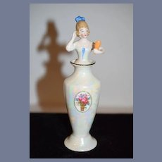 Wonderful China head Half Doll Perfume Bottle Bavaria Lady W/ Mirror