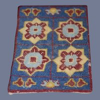 Red, Blue, And Cream Geometric Rectangle Dollhouse Rug
