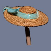 Miniature Straw Woven Doll Sun Hat with Blue Velvet Tie