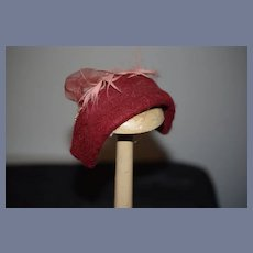 Beautiful Red Wool Doll Bonnet with Pink Feather