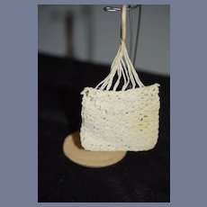 Miniature White Crochet Doll Purse