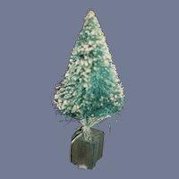 Miniature Green Christmas Tree With White Fallen Snow