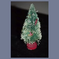 Miniature Green Frosted Christmas With White And Pink Ornaments