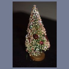 Miniature White Frosted Christmas Tree with Tinsel and Foil Decorations