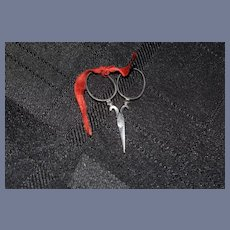 Miniature Metal Scissors with Red Ribbon