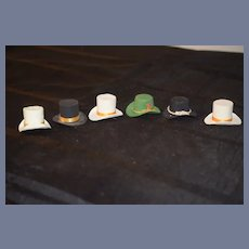Set of Six Assorted Material Little Fancy Doll Hats