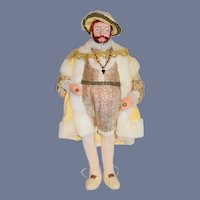 Wonderful King Henry VIII Sculpted and Cloth Doll Portrait Historical England