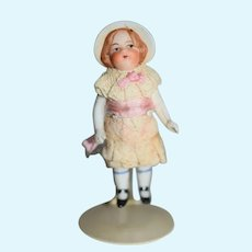 Antique Doll Miniature All Bisque Jointed Dollhouse Molded Bonnet