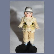 Wonderful Antique Doll Boy All Bisque Molded Bonnet Dollhouse