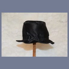 Black Silk Doll Top Hat with Brim