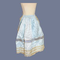 Stunning Blue Pattern and Gold Trim Doll Apron-Tie Skirt