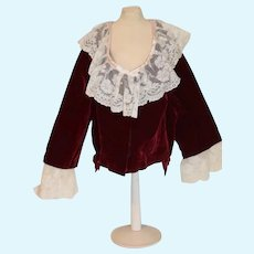 Large Red Velvet And White Lace Doll Blouse