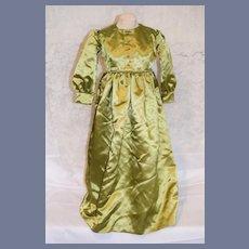 Beautiful Large Green Silk Doll Dress