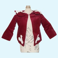 Red Velvet Doll Jacket with White Floral Decorations