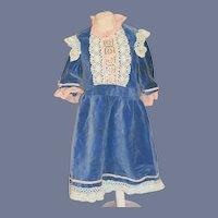 Beautiful Blue Velvet Doll Dress with Crochet Details