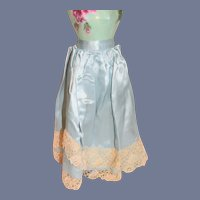 Teal Blue Silk Doll Skirt with Cream Lace Trim