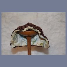 Brown Silk Ruffle Doll Bonnet with Old Floral Cloth Lining