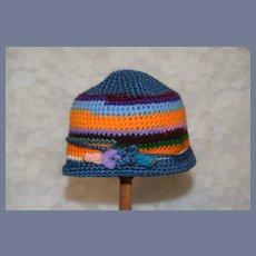 Colorful Striped Knit Doll Bonnet Hat