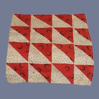 Miniature White And Red Fabric Quilt