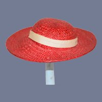 Beautiful Bright Red Woven Straw Doll Sun Hat
