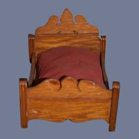 Old Wood Doll Bed Dollhouse Ornate