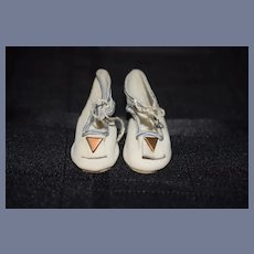 Vintage Doll Leather Shoes W/ Little Pom Pom's