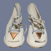 Vintage Doll Leather Shoes W/ Little Pom Pom's
