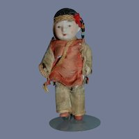 Antique Two Oriental Dolls Miniature in Original Outfit All Bisque Jointed TWO DOLLS PAIR