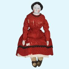 Antique Wonderful China Head Doll Large Old Cloth Body Dressed Center Part