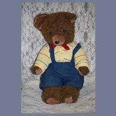 "Vintage Sweet Brown Jointed Teddy Bear Dressed 22"" Tall"