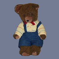"Vintage Sweet Brown Jointed Teddy Bear Dressed 22"" Tall"