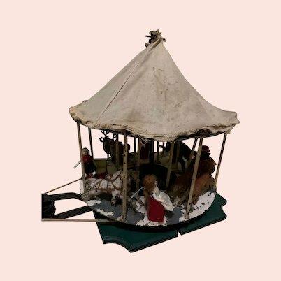 Antique Miniature Working Doll Carousel W/ Dolls Hand Crank Metal Animals W/ Miniature Dolls