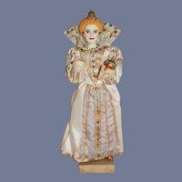 Vintage Sculpted Queen Elizabeth 1 Very Ornate W/ Globus Cruciger