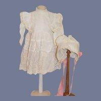 Gorgeous Old Cotton Lace Doll Dress W/ Slip Matching Bonnet French Market