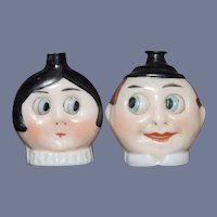 Two Miniature Googly Glass Perfume Bottles Character Man and Woman German Dolly Face