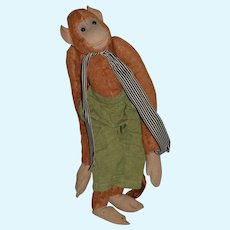 Old Stuffed Tall Jointed Monkey Dressed Button Eyes Adorable