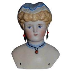 Antique Parian Doll Molded Bonnet Fancy Pierced Ears Gorgeous