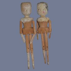 Antique Doll Wood Grodnertal Pair Large TLC Jointed Pegged TWO Old Wood Dolls