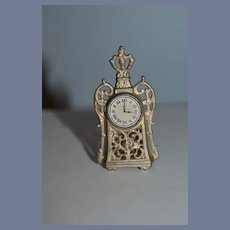 Vintage Doll Miniature Mantle Clock Fancy Dollhouse Metal