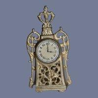Vintage Doll Miniature Mantle Clock Fancy Dollhouse Metal
