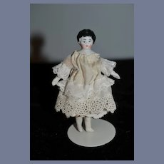 Antique Miniature China Head Dollhouse Dressed
