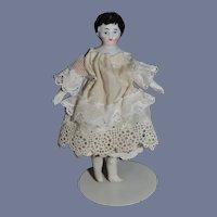 Antique Miniature China Head Dollhouse Dressed