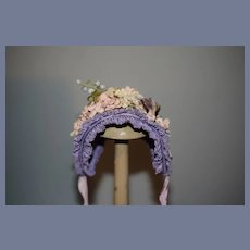 Vintage Hand Made Doll Bonnet Hat RUTH Fancy Wire Framed W/ Flowers French Market