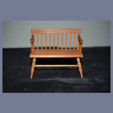 Vintage Doll Warren Dick W. Dick Miniature Wood Bench Dollhouse