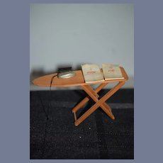 Vintage Doll Wood Folding Ironing Board and Iron W/ His Her Cloth Miniature