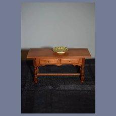 Vintage Doll Artist Wonderful Miniature Table W/ Drawers Signed Dollhouse