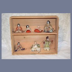 Old Antique Oriental Doll Collection in Wood Box Ornate Wonderful