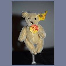 Vintage Teddy Bear Jointed Mohair Steiff Miniature Button Tag Chest Tag EAN 0203/10