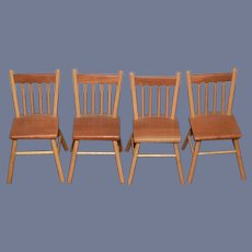 Vintage Doll Chairs Set Wood Carved Warren Dick Dollhouse Miniature Signed
